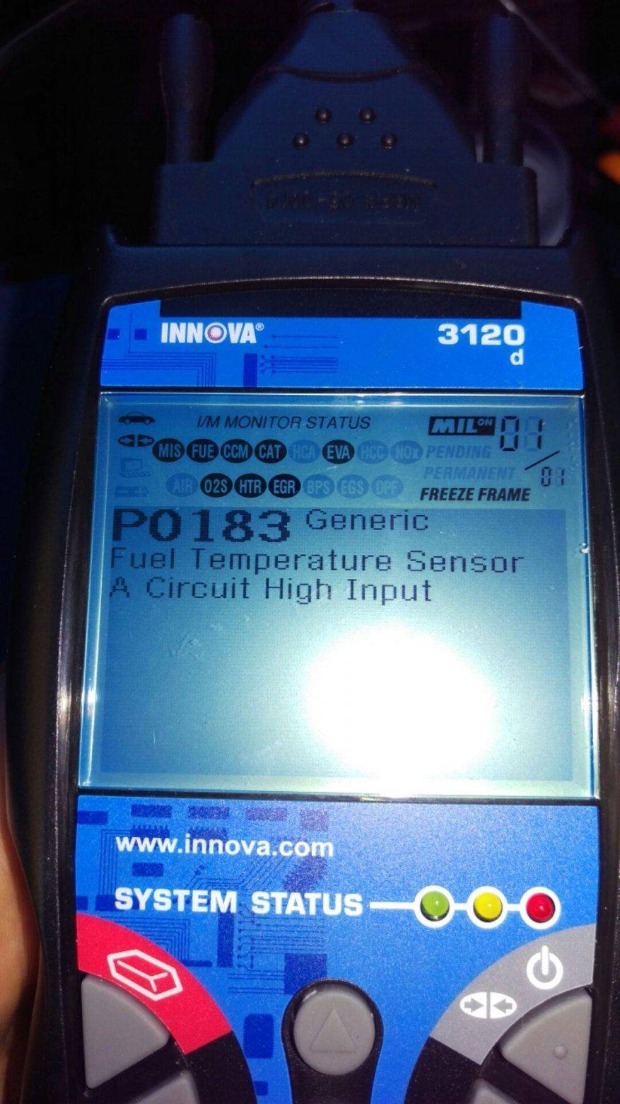 p0183 fuel temperature sensor a circuit high input nissan