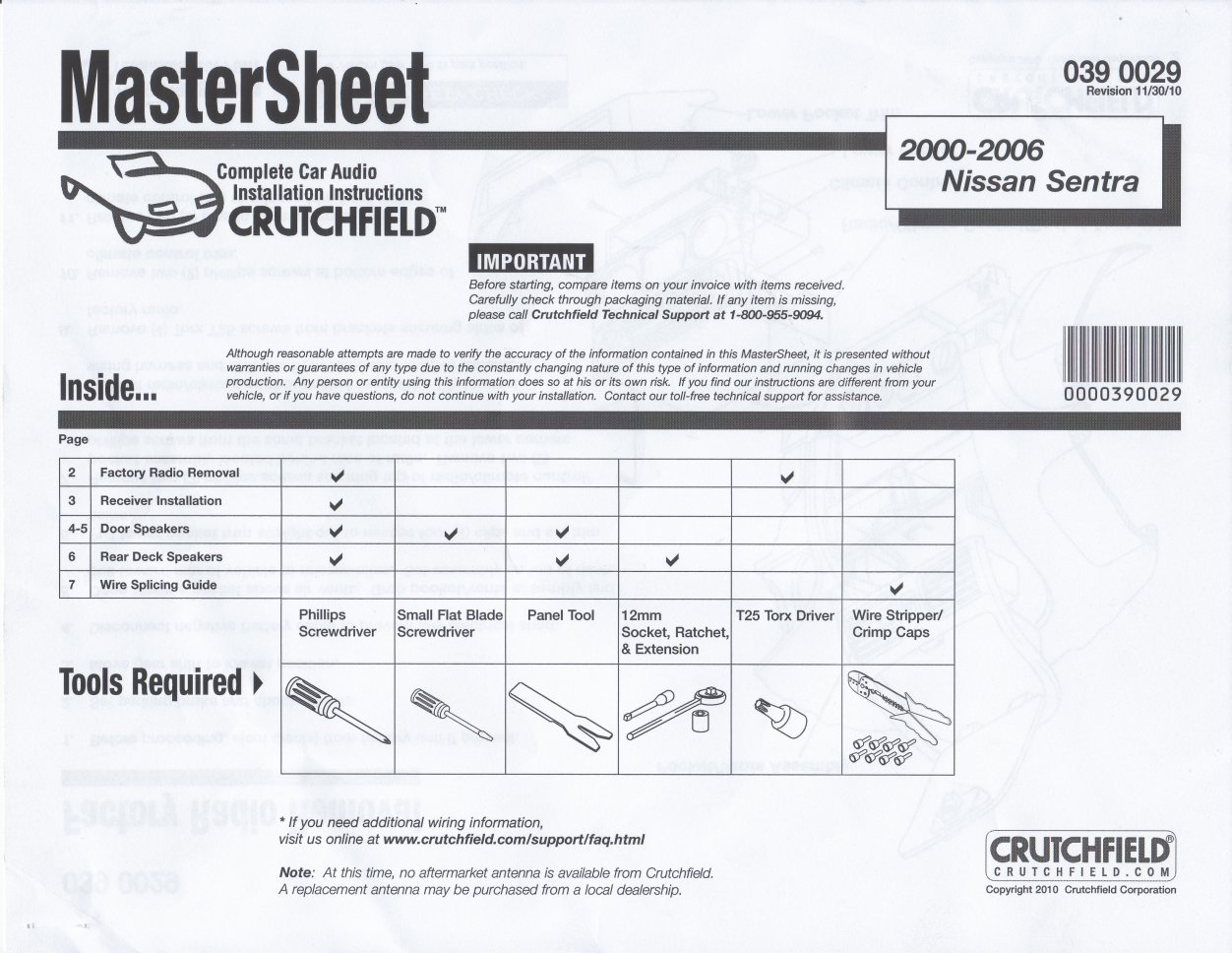 2000-2006 Sentra Crutchfield Master Sheet
