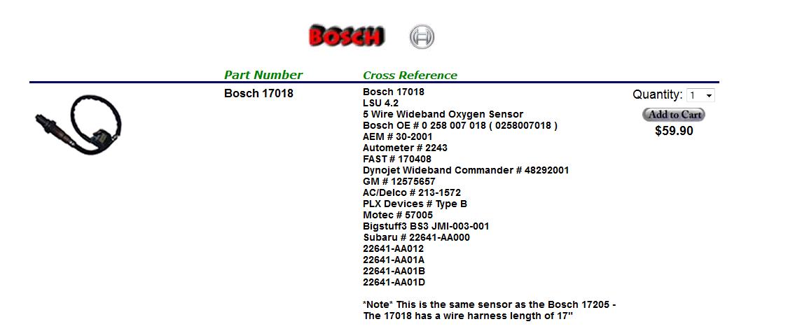 AEM wideband sensor replacement Bosch 17018